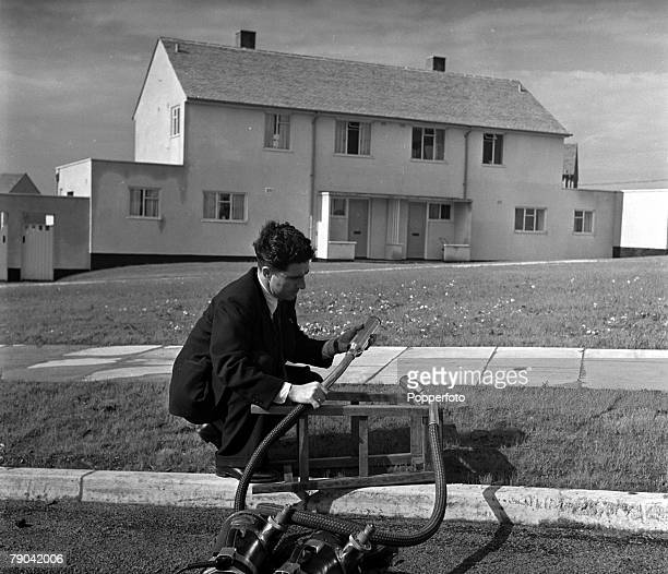 West Cumbria England A technician is pictured collecting dust from the streets of Sellafield with a vacuum cleaner to test it for signs of...