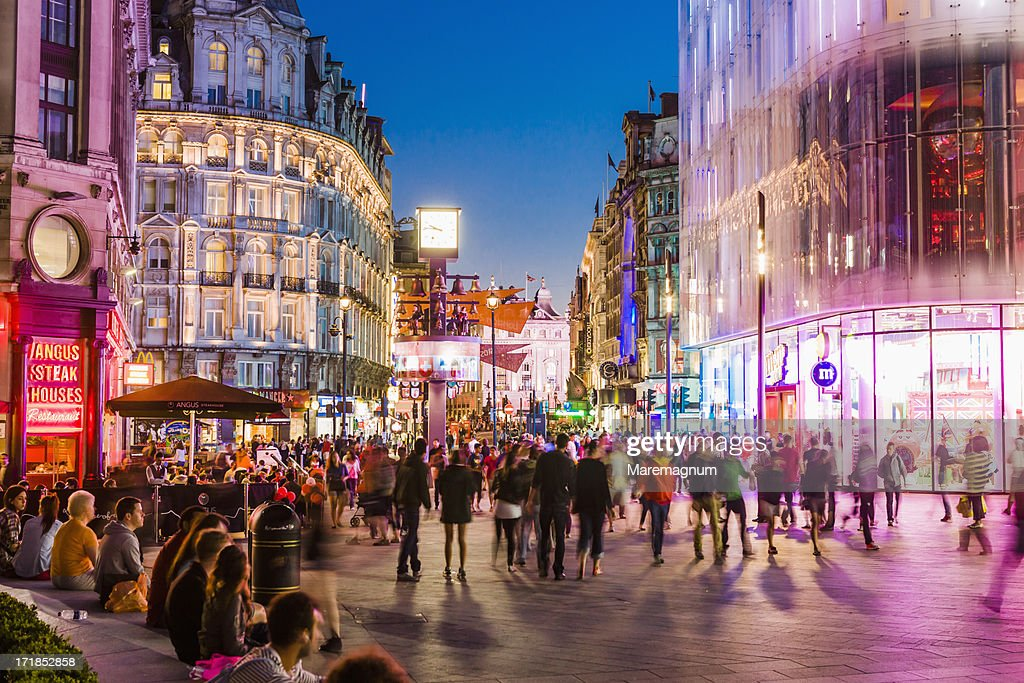 West End, people in Leicester Square : Stock Photo