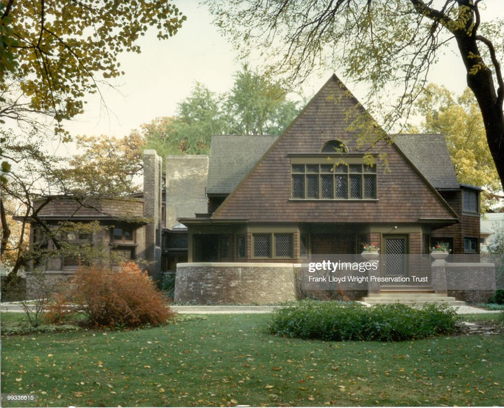 West facade of home showcasing its natural landscape, at the Frank Lloyd Wright Home and Studio, located at 951 Chicago Avenue, Oak Park, Illinois, undated.