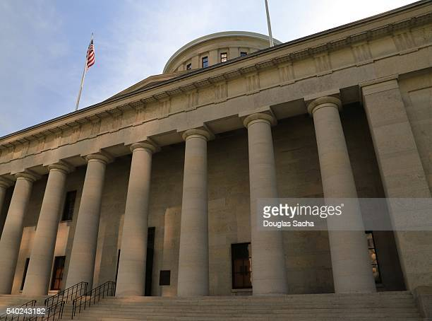 west facade of the ohio statehouse building in columbus, ohio, united states - ohio statehouse stock pictures, royalty-free photos & images