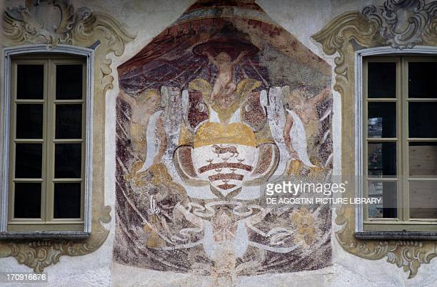 West facade of the Palace of the Riviera Community also known as Palazzotto Orta San Giulio Piedmont Italy Detail