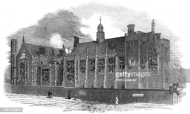 West front, Lincoln's Inn Fields, 1845. Exterior at Lincoln's Inn, one of the Inns of Court at Holborn in London. The new complex was designed by...