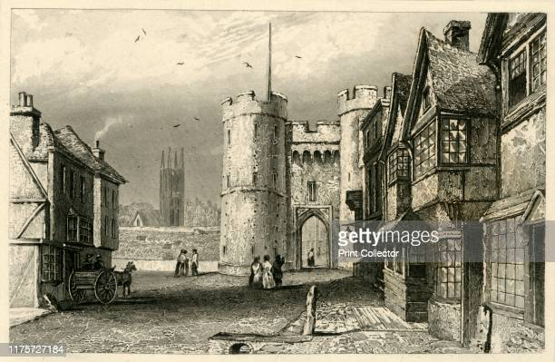 West Gate Canterbury Kent' circa 1845 The Westgate built circa 1379 is the largest surviving medieval gatehouse in England It is the only remaining...