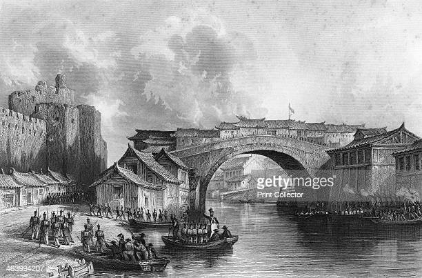 'West Gate of Chingkeangfoo' China 21 July 1842 Sketched on the spot by Captain Stoddart RN British troops disembarking from boats at the Battle of...