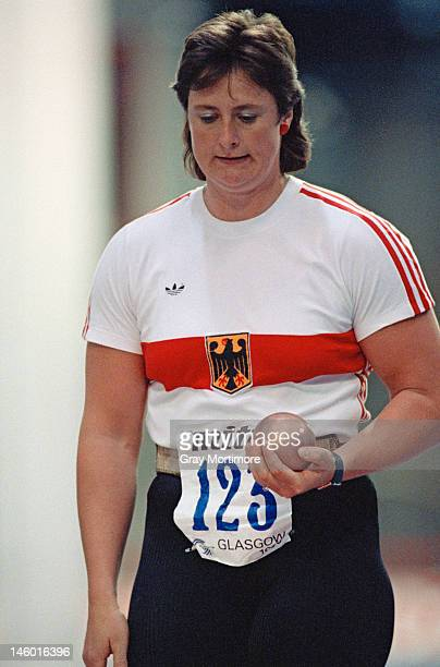 West German athlete Claudia Losch competing in the shot put at the European Athletics Indoor Championships at the Kelvin Hall Arena Glasgow 1990 She...