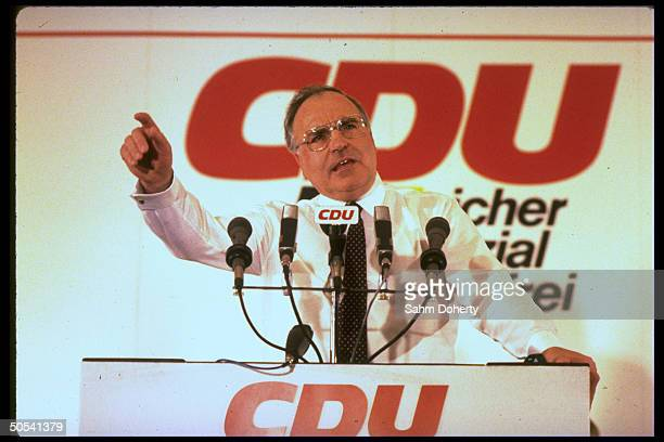 West German Chancellor Helmut Kohl speaking at Christian Democratic Union campaign rally