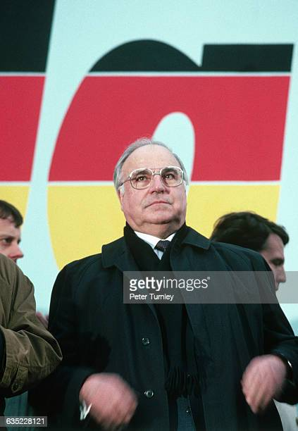 West German Chancellor Helmut Kohl Visits Cottbos East Germany