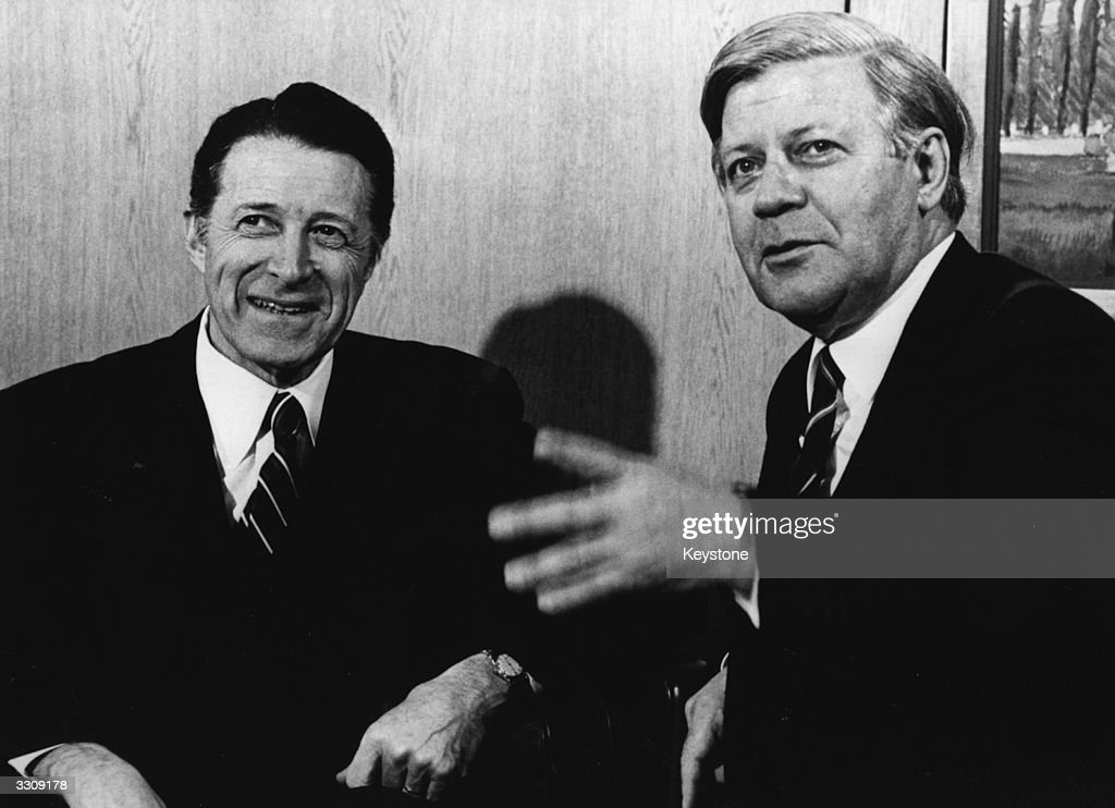 West German Chancellor, Helmut Schmidt, and US Secretary of Defence, Caspar Weinberger, converse during the 29th meeting of the Nuclear Planning Group (NPC) of the North Atlantic Treaty Organisation (NATO).