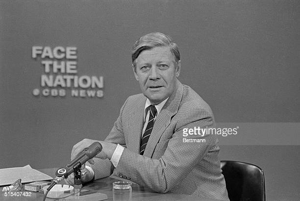 West German Chancellor Helmut Schmidt appears on CBSTV's Face the Nation May 28th calling for more American leadership in world economic affairs and...
