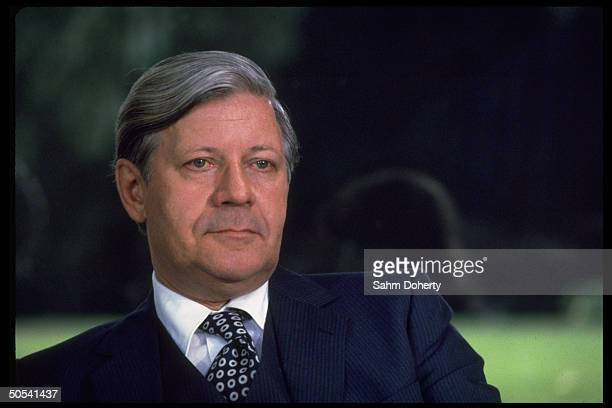 West German Chancellor Helmut Schmidt during meeting w French Pres Francois Mitterrand