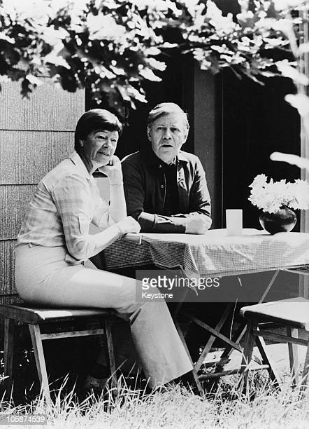 West German Chancellor Helmut Schmidt on holiday at the Brahmsee in SchleswigHolstein with his wife Hannelore 'Loki' Schmidt 6th August 1981 They are...