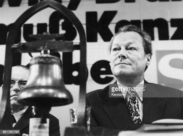 West German Chancellor Willy Brandt at the Social Democratic Party conference in Dortmund, Germany, in the lead-up to the Federal election, October...