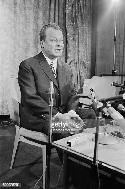 West German Chancellor Willy Brandt during a press conference at London Airport UK 2nd March 1970