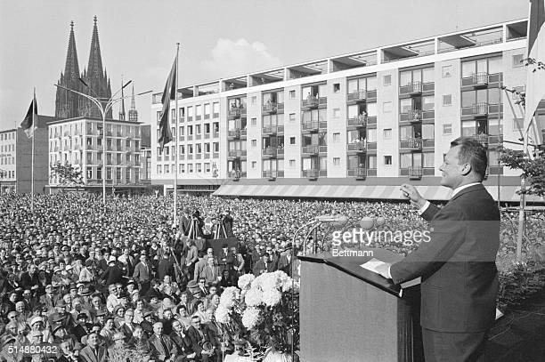 West German Chancellor Willy Brandt speaks at rally of German Social Democrats during an opening meeting May 26, 1962. Brandt won the Nobel Prize for...