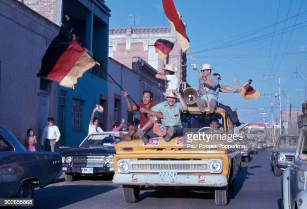 West German football fans in jubilant mood as they celebrate on the streets of Leon in Mexico, following West Germany's 3-2 victory over England in...