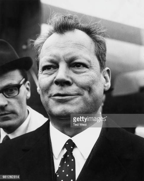 West German Foreign Minister Willy Brandt arrives at RAF Northolt by air for two days of talks with British government ministers UK 12th April 1967