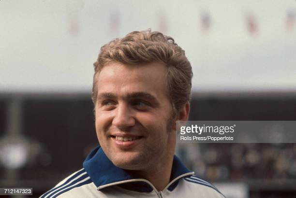 West German hammer thrower Uwe Beyer posed at an Olympic trials athletics meeting in Berlin West Germany in August 1968 Beyer would go on to compete...