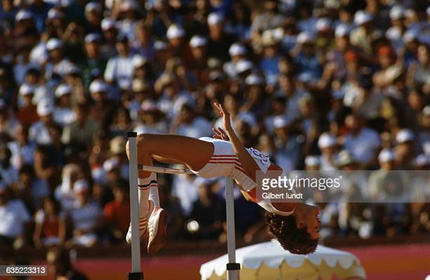 West German high jumper Ulrike Meyfarth clears the bar in the high jump competition winning the gold medal at the 1984 Summer Olympics in Los Angeles