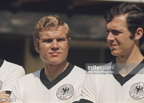 West German international footballer KlausDieter Sieloff of Borussia Monchengladbach pictured on left with Franz Beckenbauer of Bayern Munich in the...