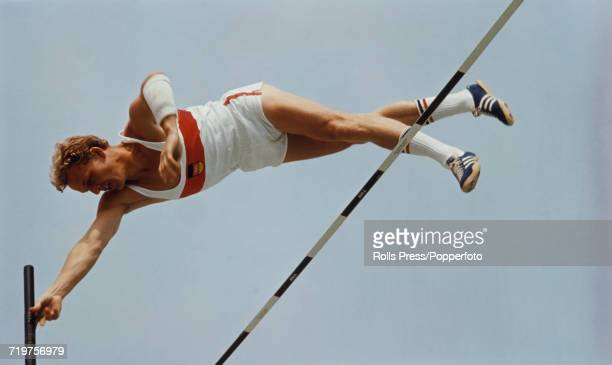 West German pole vaulter Claus Schiprowski pictured clearing the bar in competition to finish in second place to win the silver medal in the Men's...