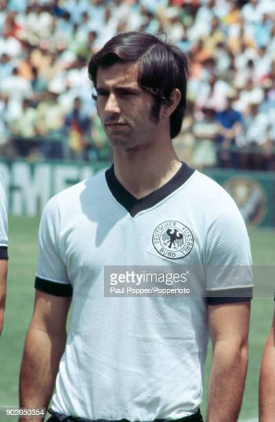 West German striker Gerd Muller lines up before their FIFA World Cup quarter final match between West Germany and England in Leon Mexico 14th June...