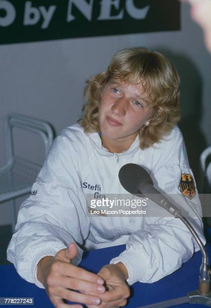West German tennis player Steffi Graf pictured at a press conference during progress to reach the semifinals of the Women's Singles tournament at the...