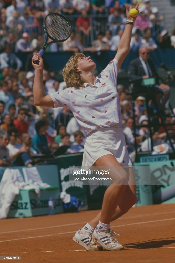West German tennis player Steffi Graf pictured in action competing to progress to reach the final and win the Women's Singles tournament to become 1987 French Open champion at the Stade Roland Garros in Paris, France in June 1987.