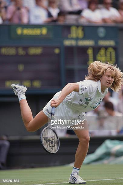 West German tennis player Steffi Graf pictured in action during her first round match against Hu Na in the Ladies' Singles tournament at the...
