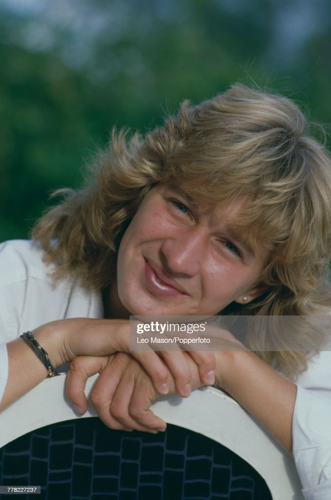 West German tennis player Steffi Graf posed during progress to win the final of the Women's Singles tournament to become 1987 French Open champion at the Stade Roland Garros in Paris, France in June 1987.
