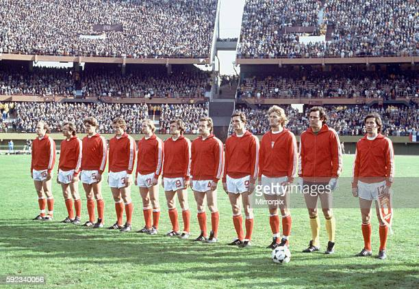West Germany 0 v Poland 0 The Polish team line up before the match Left to right Grzegorz Lato Bohdan Masztaler Adam Nawalka Henryk Maculewicz...