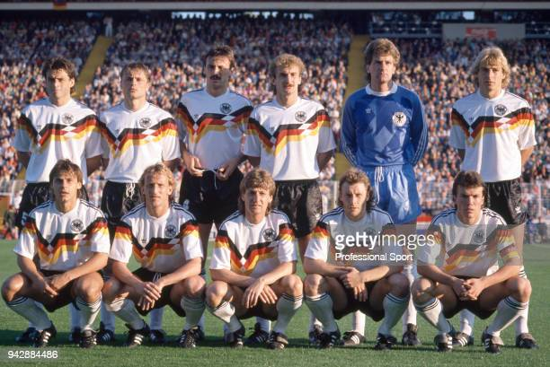 West Germany line up for a group photo before the UEFA Euro 1988 Semi Final between West Germany and the Netherlands at the Volksparkstadion on June...