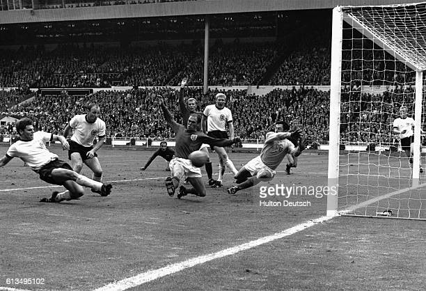 West Germany score against England in the last seconds of normal time in the World Cup Final of 1966 at Wembley Stadium London This goal put the...