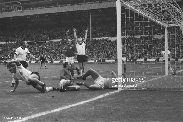 West Germany scores a second goal during the FIFA World Cup Final against England at Wembley Stadium, London, UK, 30th July 1966. From left to right,...