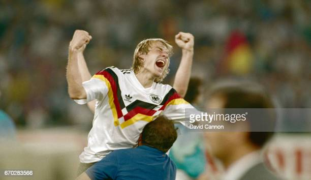 West Germany striker Jurgen Klinsmann celebrates after the 1990 FIFA World Cup Final between West Germany and Argentina at Olympic Stadium on July 8...