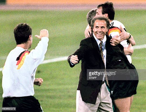 West Germany's national soccer team coach Franz Beckenbauer celebrates after his team beat the defending champions Argentina 10 on a penalty kick by...
