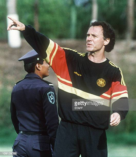 West Germany's national soccer team coach Franz Beckenbauer gestures during practice as his squad prepares to play against Denmark in a World Cup...