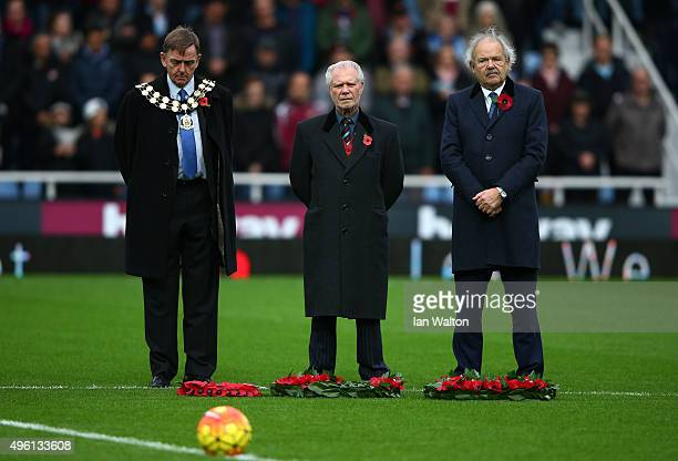 West Ham chairman David Gold , Newham Council Mayor Robin Wales observe a minute of silence to remember fallen members of the armed forces ahead of...
