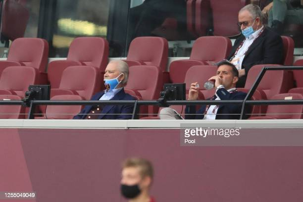 West Ham chairman David Gold sits in the stands during the Premier League match between West Ham United and Burnley FC at London Stadium on July 08,...