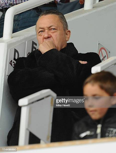 West Ham chairman David Sullivan looks on during the Barclays Premier League match between West Ham United and Sunderland at Boleyn Ground on May 22,...