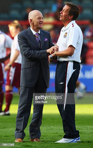 West Ham Chairman Eggert Magnusson talks to Alan Curbishley prior to the preseason friendly between Leyton Orient and West Ham United at Brisbane...