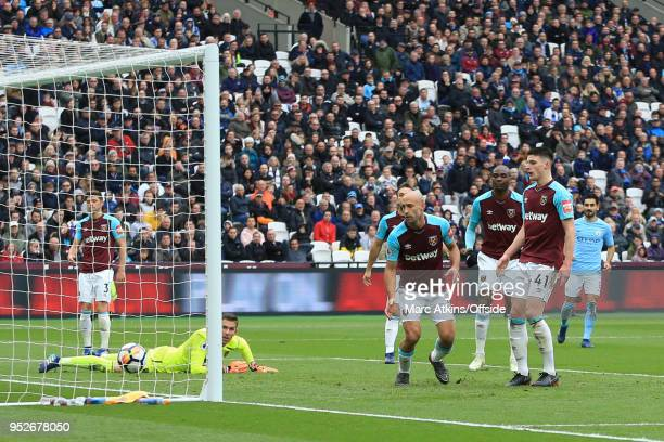 West Ham conceded a second goal via a deflection from Pablo Zabaleta and Declan Rice during the Premier League match between West Ham United and...