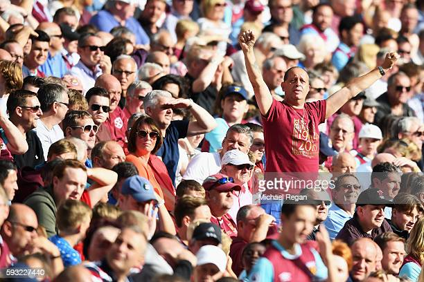 West Ham fan looks on from the crowd during the Premier League match between West Ham United and AFC Bournemouth at London Stadium on August 21 2016...