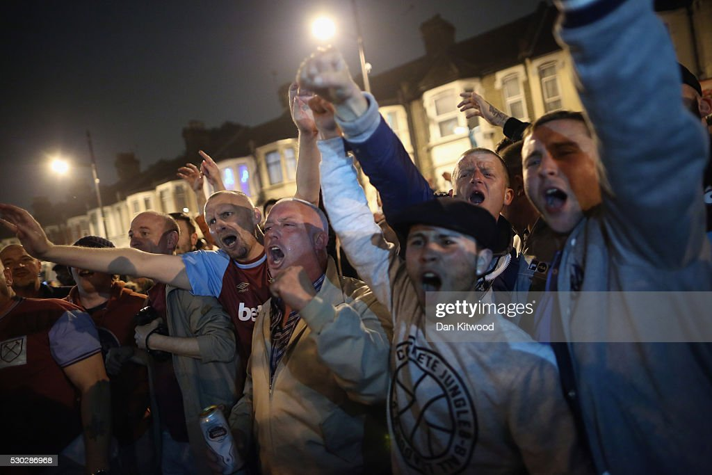 West Ham fans celebrate a win over Manchester United outside the Boleyn Ground, the Home of West Ham United football club on May 10, 2016 in London, England. Tonights Premier League match against Manchester United is the last game at the Boleyn Ground, bringing to an end 112 years of the clubs history at the ground. The club will move into the Olympic Stadium next season, making way for developers and plans for 800 new homes where the stadium now stands.