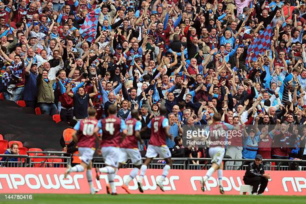 West Ham fans celebrate after Carlon Cole scores the opening goal during the npower Championship Playoff Final between West Ham United and Blackpool...