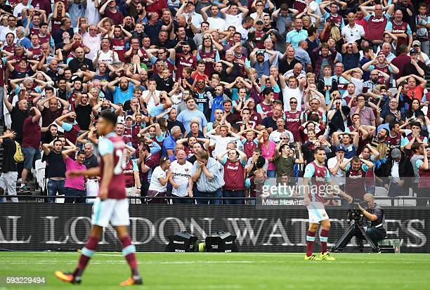 West Ham fans react after a late miss by Jonathan Calleri during the Premier League match between West Ham United and AFC Bournemouth at London...