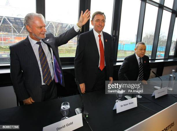West Ham football Club coowner David Gold with Sir Robin Wales Mayor of Newham and coowner David Sullivan coowner arrive for a press conference in...