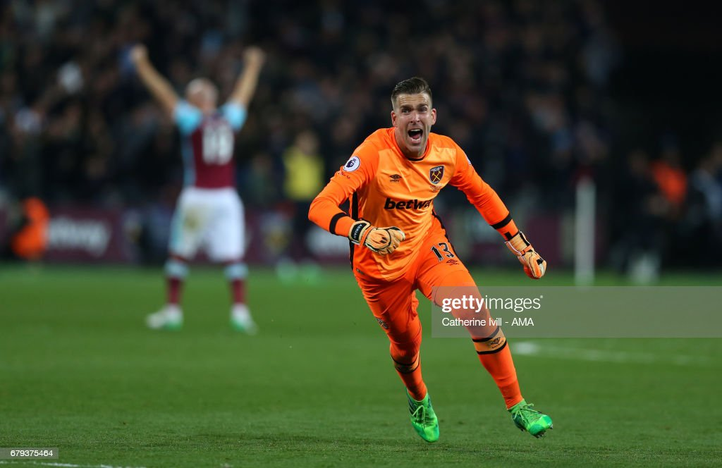West Ham goalkeeper Adrian celebrates after Manuel Lanzini of West Ham scores a goal to make it 1-0 during the Premier League match between West Ham United and Tottenham Hotspur at London Stadium on May 5, 2017 in Stratford, England.