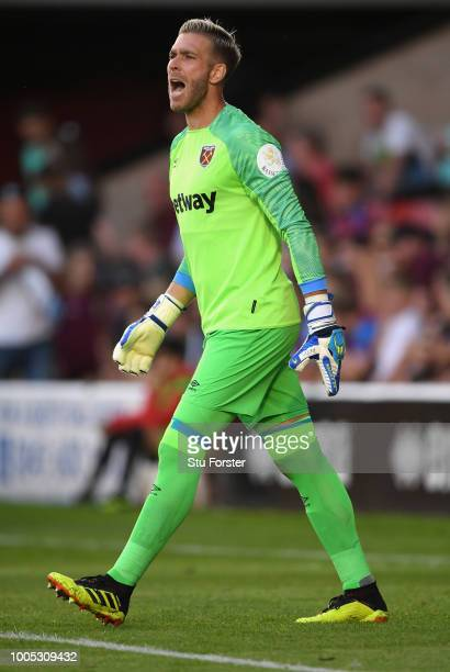 West Ham goalkeeper Adrian reacts during a friendly match between Aston Villa and West Ham United at Banks' Stadium on July 25 2018 in Walsall England
