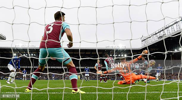 West Ham goalkeeper Adrian saves a shot from Everton striker Ross Barkley during the Premier League match between Everton and West Ham United at...