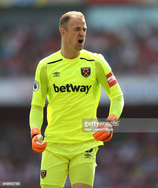 West Ham goalkeeper Joe Hart shows his frustration during the Premier League match between Arsenal and West Ham United at Emirates Stadium on April...